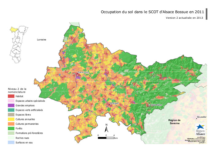 Carte Scot Alsace.Carte Occupation Du Sol Dans Le Scot D Alsace Bossue En