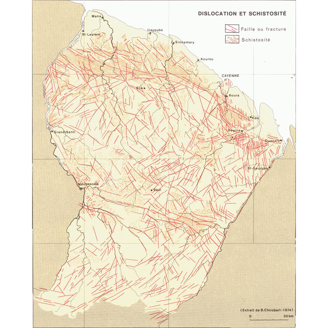 La Guyane : planche 5 : géomorphologie: dislocation et schistosité