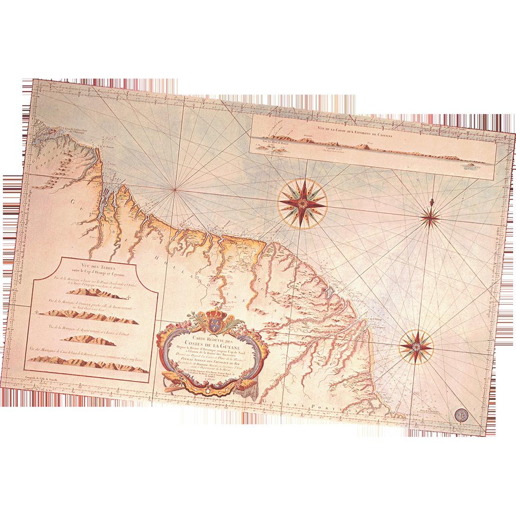 La Guyane : planche 18 : cartes anciennes : carte réduite des costes de la Guyane : 1760