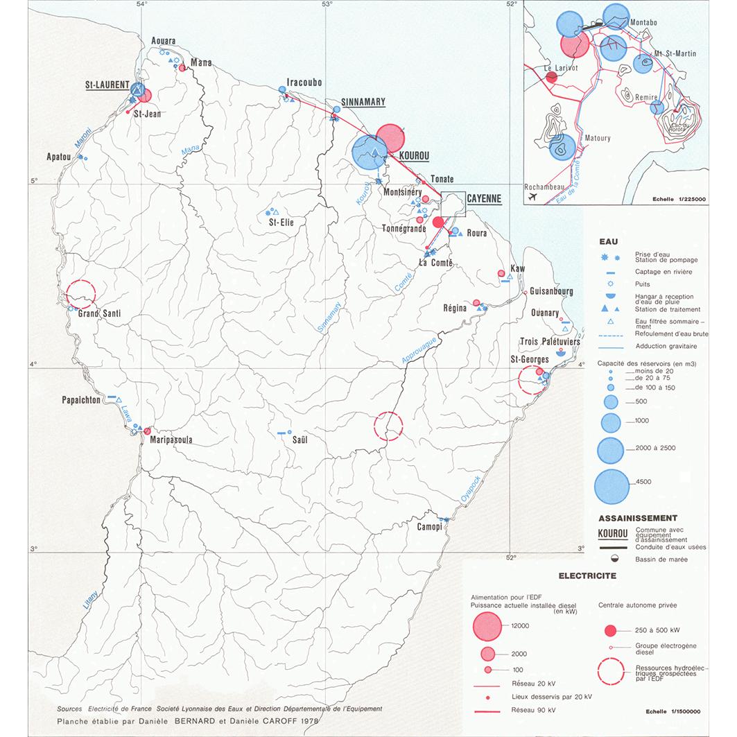 La Guyane : planche 30 : energie, eaux, PTT et radiotélévision : énergie, eau et assainissement