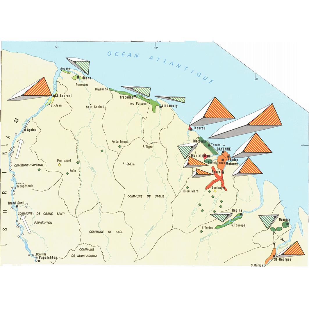 La Guyane : planche 22 : mouvements migratoires : redistribution interne de la population