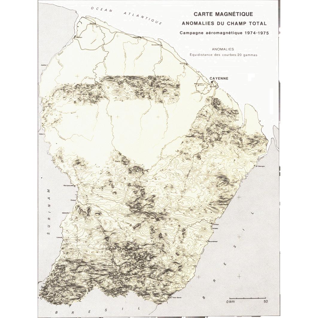 La Guyane : planche 4 : géologie : carte magnétique : anomalies du champ total
