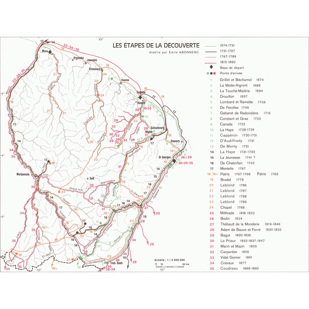 La Guyane : planche 19 : histoire coloniale : les étapes de la découverte