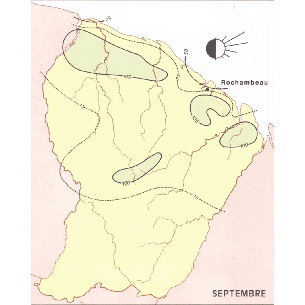 La Guyane : planche 7 : climatologie I : vents - au sol à la station de Rochambeau : septmbre