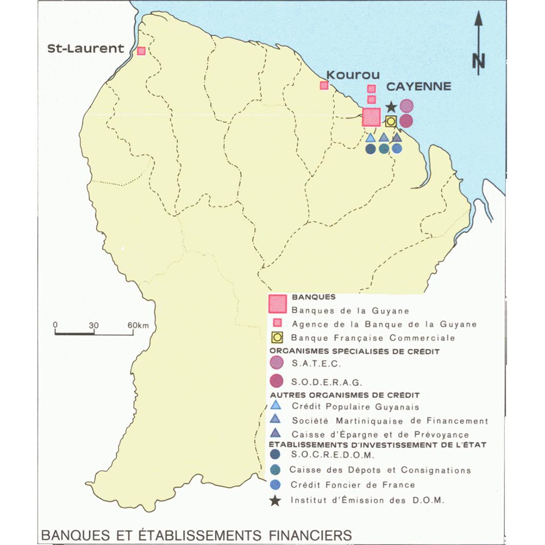 La Guyane : planche 29 : administrations, banques : banques et etablissements financières