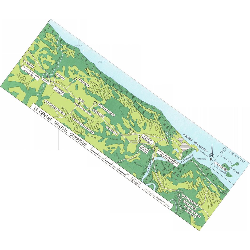 La Guyane : planche 36 : Kourou, Saint-Laurent, Sinnamary : le centre spatial guyanais