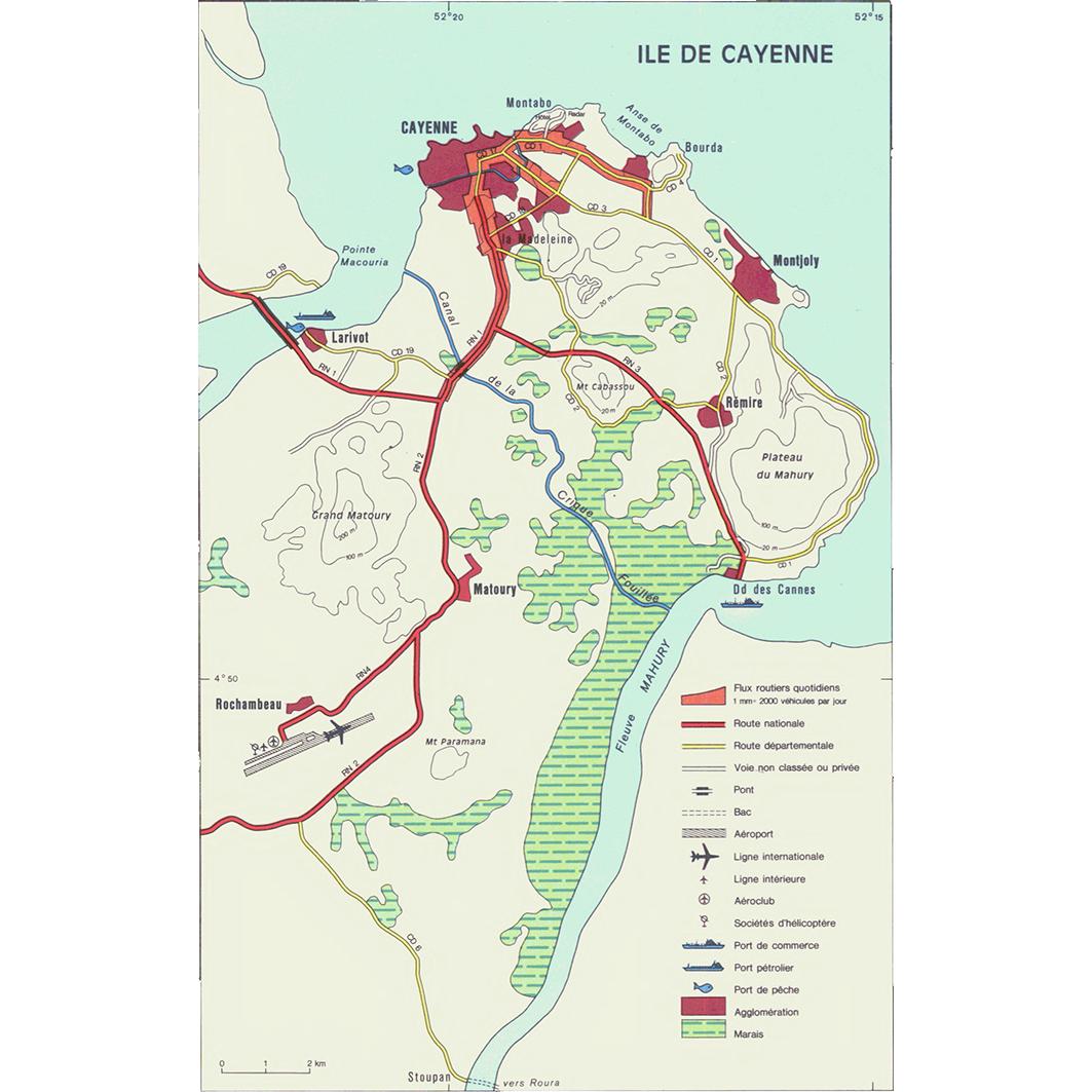 La Guyane : planche 27 : circulation, transports : ile de Cayenne