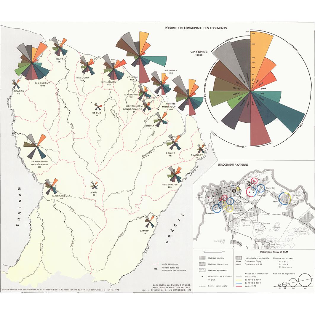 La Guyane : planche 33 : logement : répartition communale des logements