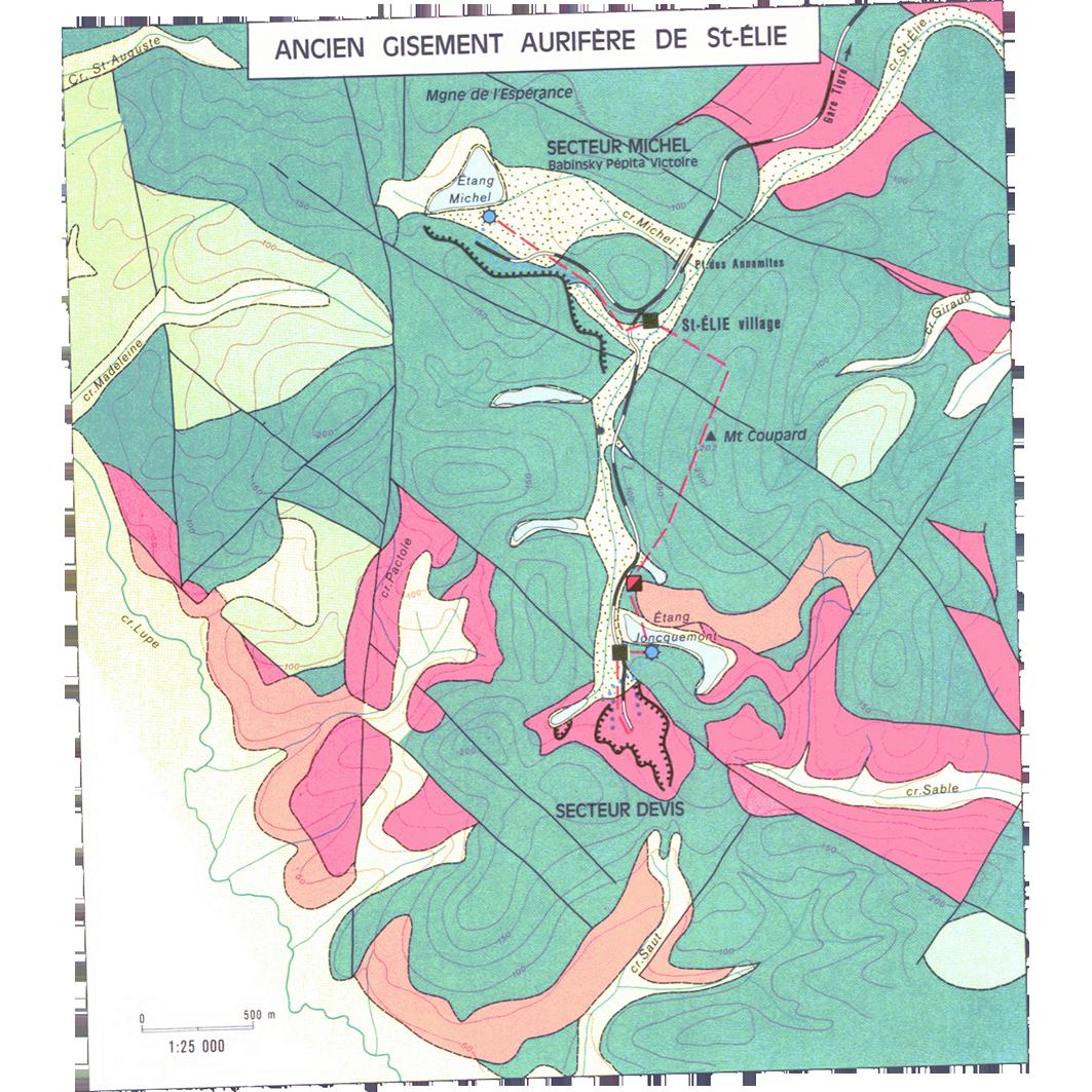 La Guyane : planche 26 : ressources minières : ancien gisement aurifère de St-Élie