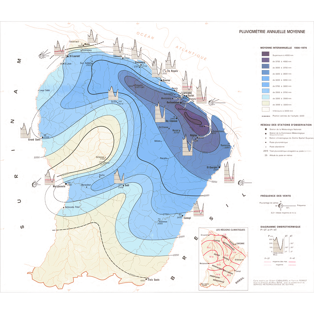 La Guyane : planche 8 : climatologie II : pluviométrie annuelle moyenne