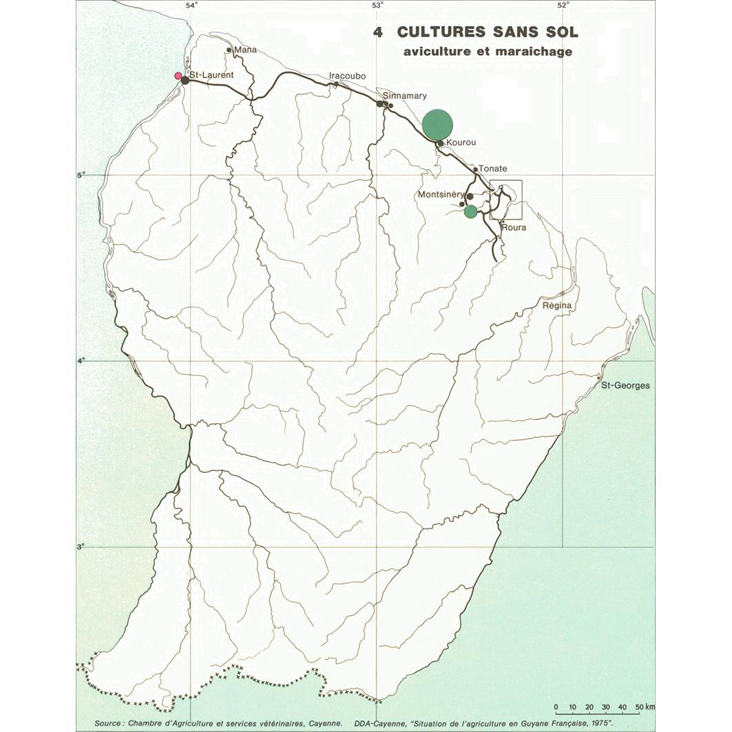 La Guyane : planche 24.4 : productions agricoles : cultures sans sol - aviculture et maraichage