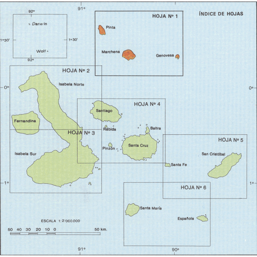 Islas Galapagos : mapa de formaciones vegetales : indices de hojas