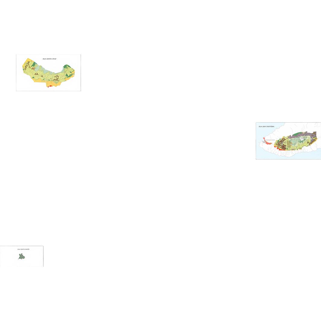 Islas Galapagos : zonas agricolas (Santa Maria - Santa Cruz - San Cristobal) : mapa de formaciones vegetales y uso actual del suelo