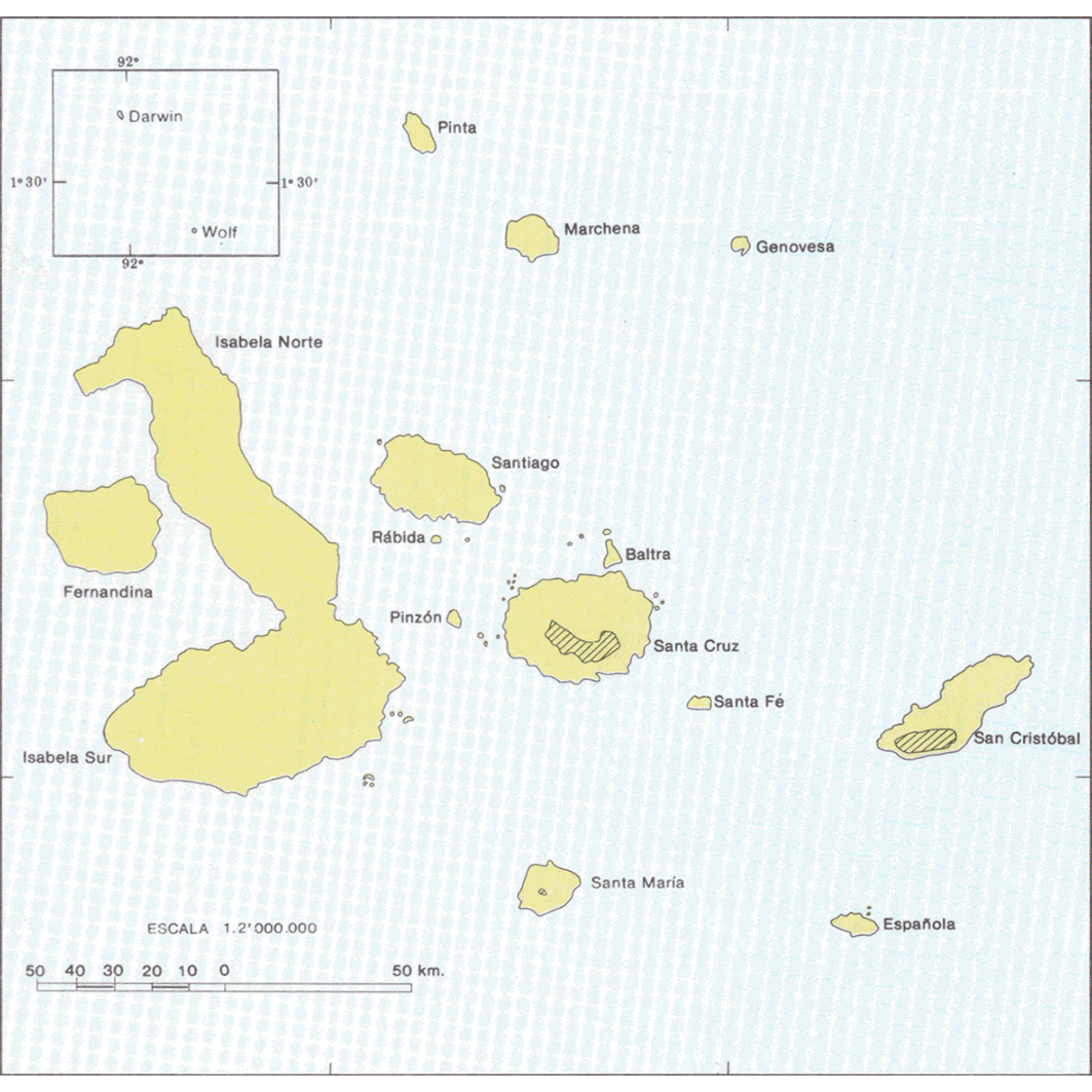 Islas Galapagos : zonas agricolas (Santa Maria - Santa Cruz - San Cristobal) : mapa de aptitudes agricolas : indice de hojas