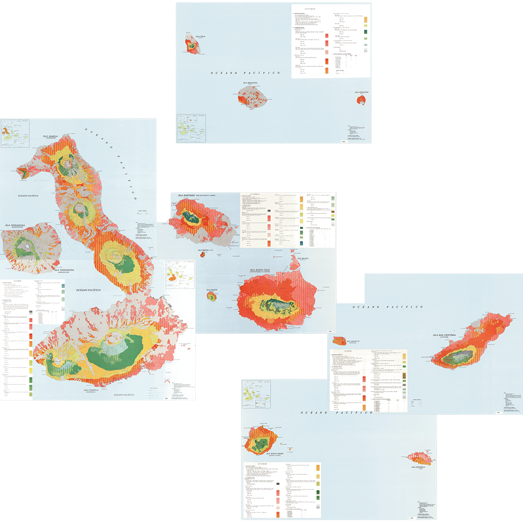 Islas Galapagos : mapa de formaciones vegetales