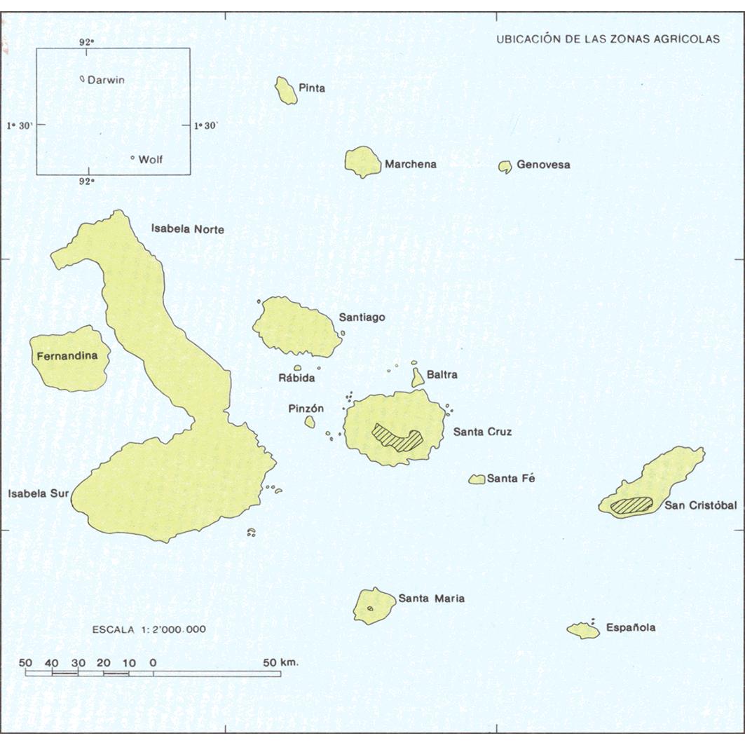 Islas Galapagos : zonas agricolas (Santa Maria - Santa Cruz - San Cristobal) : mapa de formaciones vegetales y uso actual del suelo : ubicación de las zonas africolas