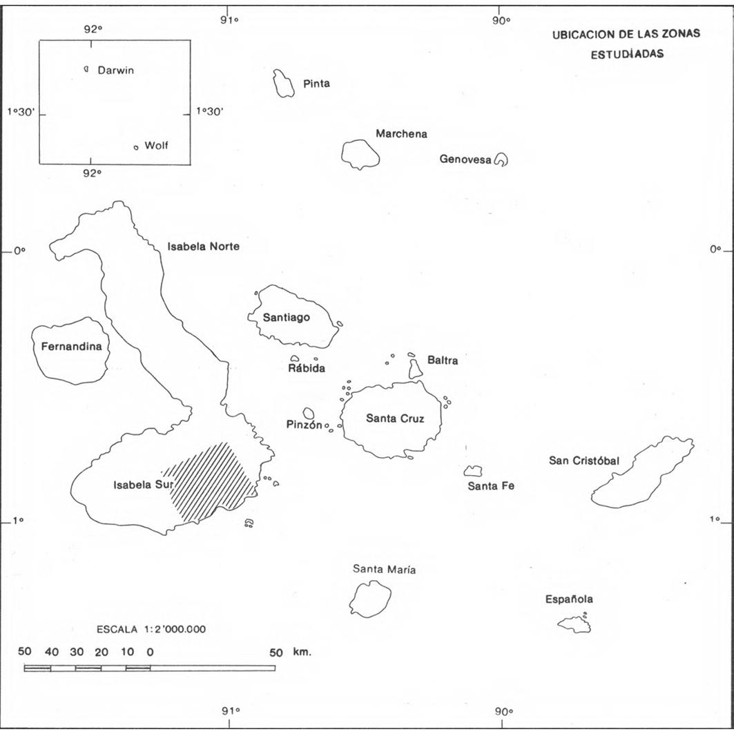 Islas Galapagos : mapa de recursos hídricos : ubicacion de las zonas estudiadas
